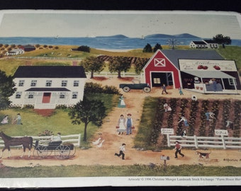 "Vintage 1996 Aleene's Decoupage Prints & Papers, ""Farm House Harvesting"" 9x12 print, NEW"