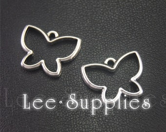 30pcs Antique Silver Hollow Out Butterfly Charms Pendant A1991
