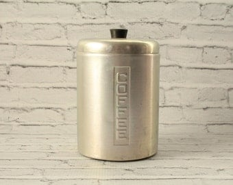 Vintage Mid-Century Aluminum Coffee Canister Metal Lidded Top Silver Great Patina 1950s Kitchen Decor Storage Aluminumware Made in Italy
