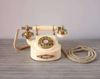 Vintage French Style Working Rotary Phone Solid Brass Hardware Ivory Plastic Body New York Telephone Company Photography Store Display Prop