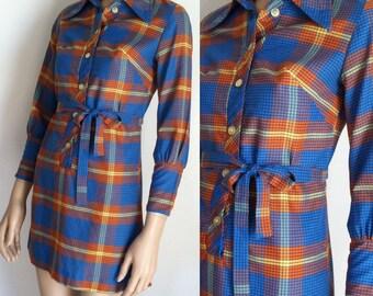 Vintage 1970s Plaid Mini Dress - xs