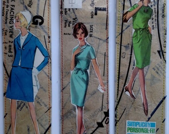 Vintage Sewing Pattern Collage Bookmarks Set of 3 - 1960s
