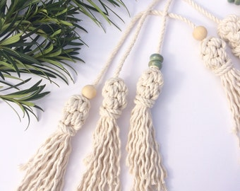 Tassel Tie, macrame tassels, rear view mirror accessory, party favor, ornament