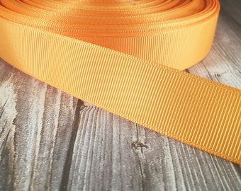 "Solid gold Grosgrain - 7/8"" Grosgrain ribbon - 5 yards - craft ribbon - DIY hair bow - DIY headband - Wedding ribbon - Gold wedding"