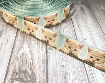 "Kitten ribbon - 1"" grosgrain ribbon - Tabby cat ribbon - Animal rescue ribbon - Adopt a kitten ribbon - Animal ribbon - Pet ribbon"