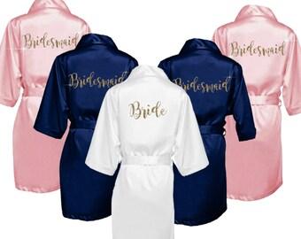 Bridesmaid Robes Set of 7 - Bridal Party Robes - Bridesmaid Wedding Gift - Robe - Personalized Satin Robes