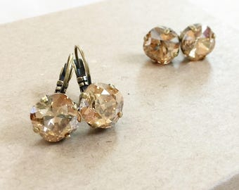 Swarovski Crystal Drop Earrings in Golden Shadow
