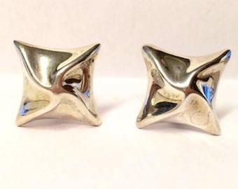 Large Vintage mexican sterling silver pinwheel earrings / clipon earrings for non pierced ears