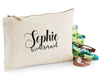 Personalised wedding favor bridesmaid make up cosmetics bag