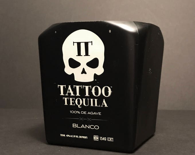 Recycled Tattoo Tequila Skull Bottle Candle