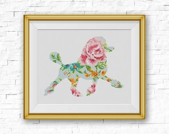 BOGO FREE! Poodle Cross Stitch Pattern, Floral Poodle Silhouette xStitch Flowers Watercolor effect Pet Dog Animal Modern Home Decor #025-6-3
