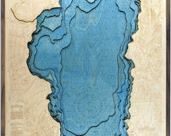 Lake Tahoe laser cut framed 3D topographical map, with depths, mountains rivers and roads.