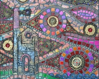 Mixed media mosaic, Towanroath and Spiral Sky, Cornish engine house polymer clay and glass mosaic