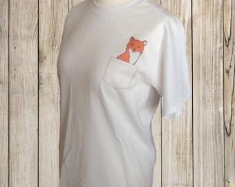 Fox pocket tee shirt, white, medium size