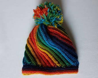 READY TO SHIP -  Baby rainbow beanie, Unique crochet hat, Beanie with pom pom, Rainbow beanie, Winter hat, Size 6 - 12 months