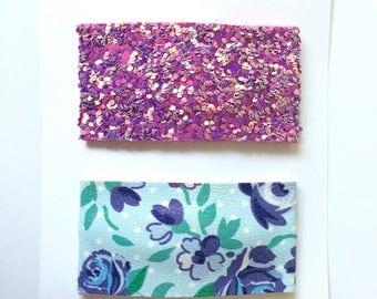 Floral Fabric Snap Clip//Purple/Maroon Glitter Snap Clip Set - Glitter Snap Clip - Fabric Snap Clip