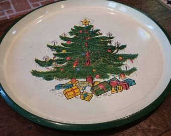 Vintage Christmas Tree Plastic Tray/ Made in Japan