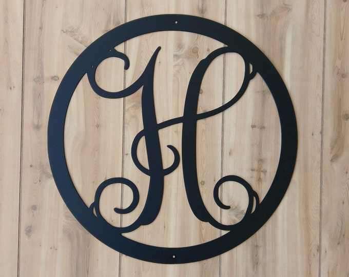 Monogram signs bluefishmill for Metal letters for front door