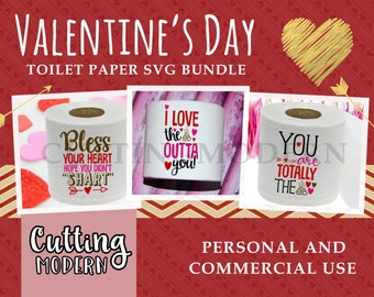 SVG Valentine's Day Toilet Paper Bundle - Feb 2017 - For Silhouette Cameo Vinyl Machines - Commercial Use