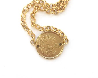 "Japan Coin Necklace || LOVEMYROOTS || Gold Dipped Coin Pendant || 16"" 18"" gold filled chain 