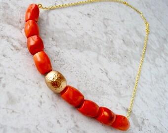 Temi - Orange Coral Bar Necklace