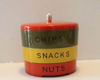 Vintage Mid century -Green, Yellow, and Orange Stacking Bowls- Nasco Stoneham ware Japan-Chips-Snacks -Nuts