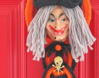 Vintage Handmade Kitschy Witch Door Hanging-Vintage Plastic Witch Face-Vintage Skull and Bones-Crochet Halloween Hanging