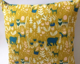 Organic Cotton Gold Jungle Cushion with Lions, Tigers and Bears