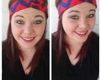 Red and Navy Chevron Fabric Headband
