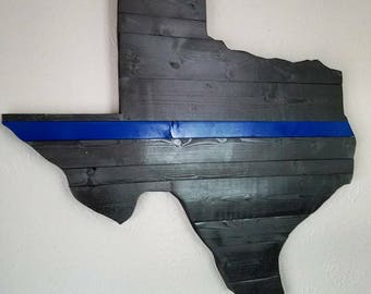 Large Reclaimed Wood Texas Wall Art - Thin Blue Line - Law Enforcement - Wood Wall Art - Unique Gift