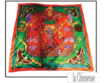 VINTAGE SILK SCARF big silk /Immense square silk scarf.
