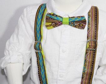 Dashiki Baby/Kids bow tie and suspender set
