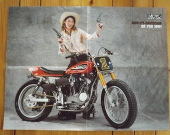 Poster HARLEY - DAVIDSON XR-750 1991 / old motorcycle Collection / Photo Harley Davidson vintage