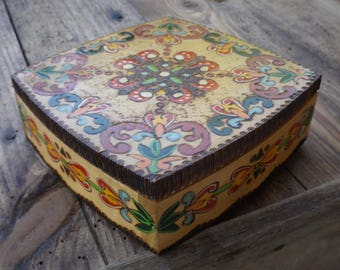 Russian box handmade vintage / vintage jewelry box / vintage wooden box