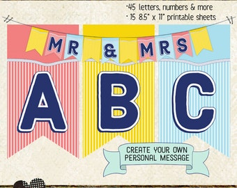 NAUTICAL BANNER LETTERS, numbers & extras, create personalized message, birthday, baby shower, wedding, printable, instant download