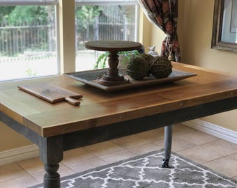classic counter height table 67 farmhouse table 2 thick top wooden kitchen table kitchen island - Kitchen Counter Tables
