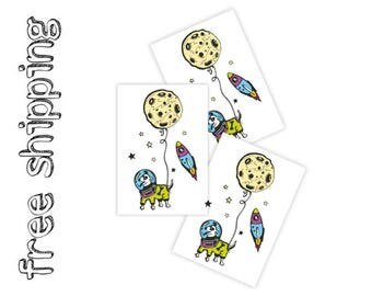 Set of 3 tatts «Spacedog». Kids temporary tattoos with doodle astronaut dog in space with rocket and moon. Party bag supply. TT195