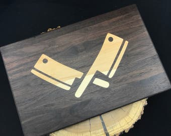 Cleaver inlay Cutting board- Walnut & Maple