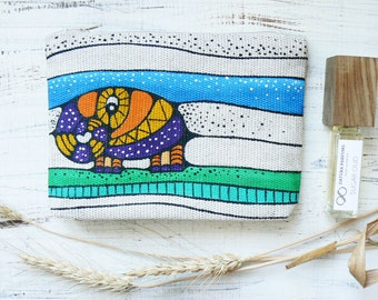 Elephant Cosmetic Bag Elephant Pouch Gift for mom Girlfriend gift Cute Makeup Bags Hand Painted Make up Bag Zipper Pouch Elephant gift