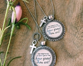 Bible Verse Necklace, Handwriting Jewelry, Scripture Necklace, How Great Thou Art, Mom Birthday Jewelry, Memorial Jewelry, Hymnal Gift