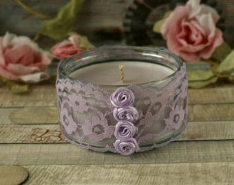 Soy wax candle, lace decor, purple candle holder, boho gift, home decoration, hand poured candles, boho decor, purple gift, candles handmade