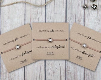 Bridesmaid gifts- will you be my maid of honor - Custom Bridesmaid gifts - Bridal Party Gifts - Rhinestone Bracelets - gifts under 10
