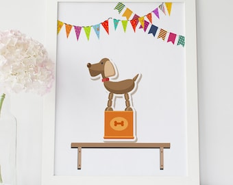 Nursery Wall Art, Toy Dog Print, Children's Wall Art, Puppy Nursery Print, Dog Nursery Wall Art, Dog Instant Download, Playroom Wall Decor