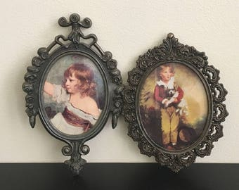 Vintage Brass Frames with Victorian Prints
