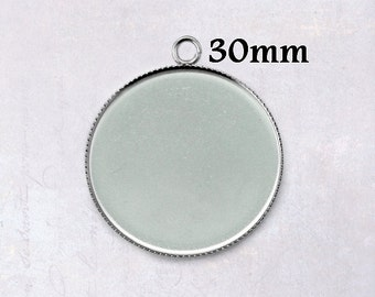 10 x Round Stainless Steel 30mm Bottle Cap Cabochon Pendant Settings