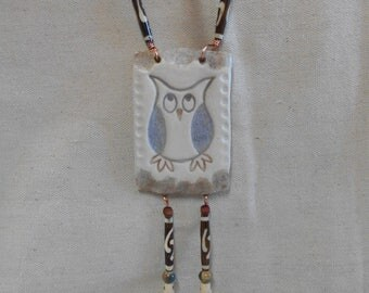 Owl on a Branch - White, Blue, and Brown Wall Tile with Copper Wire, Wood, Bone, and Ceramic Beads