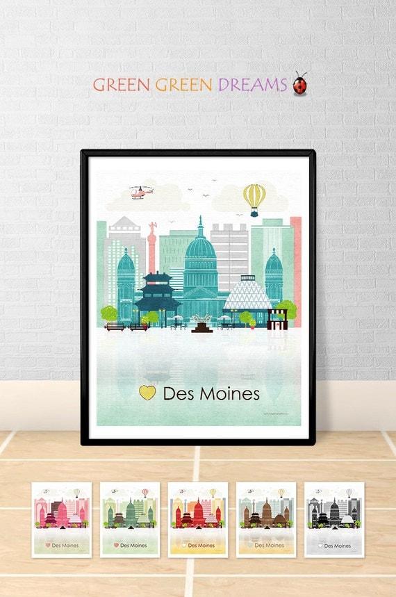 Des Moines Print Poster Wall Art Des Moines Iowa Des Moines