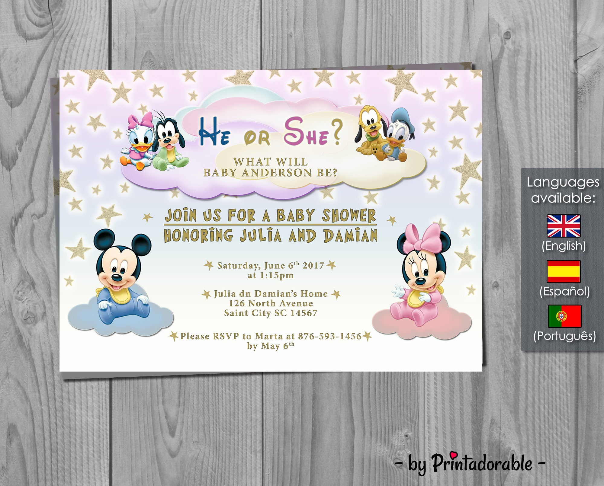 Baby Disney Baby Shower Invitation   Gender Reveal   Mickey, Minnie,  Donald, Pluto And Goofy Invite   Digital Printable Fully Customizable