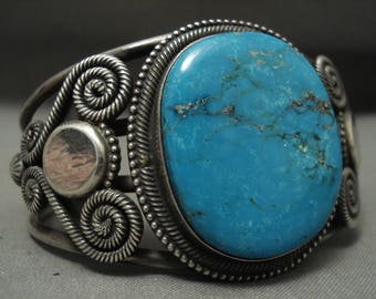 Museum Vintage Navajo Blue Gem Turquoise 'Swirls Galore' Silver Bracelet