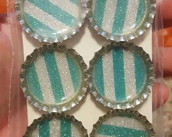 Blue Glitter Striped Bottle Cap Magnets